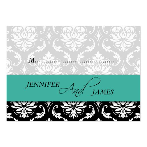 Turquoise Black Damask Place Card Business Cards
