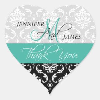 Turquoise Black Damask Wedding Favor Heart Sticker