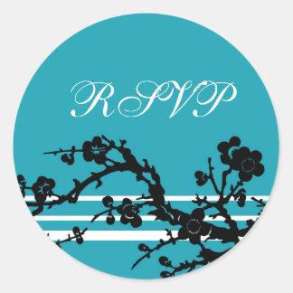 Turquoise Black Floral RSVP Envelope Seals Round Sticker