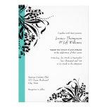 Turquoise & Black Flourish Wedding Invitations