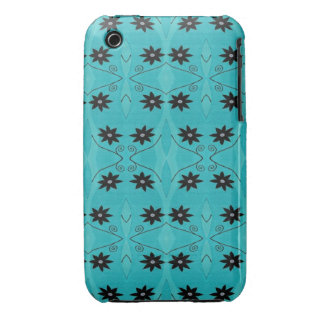 Turquoise Black Flower pattern iPhone 3 Case-Mate Case