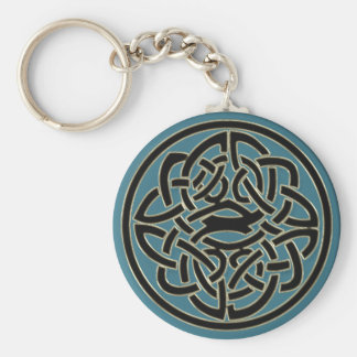 Turquoise Black Gold Metal Celtic Knot Keychain