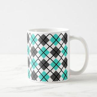 Turquoise, Black, Grey on White Argyle Print Mug