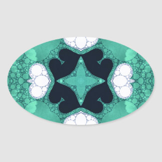 Turquoise Black Heart Abstract Oval Sticker