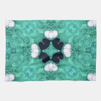 Turquoise Black Heart Abstract Kitchen Towels