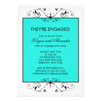 Turquoise & Black Scroll Engagement Invitations