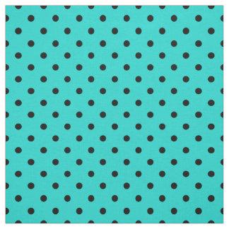 Turquoise Black Spotty Polka Dot Pattern Fabric