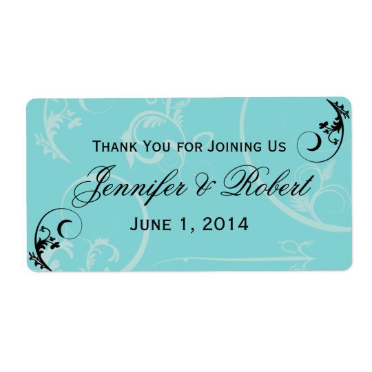 Turquoise Black Swirl Flourish Water Bottle Label