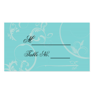 Turquoise Black Swirl Flourish Wedding Place Card Double-Sided Standard Business Cards (Pack Of 100)