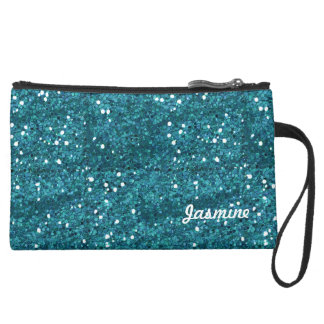 Turquoise Bling Sueded Mini Clutch Wristlet Purse