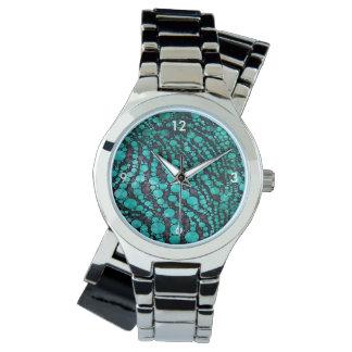 Turquoise Bling Zebra Wristwatch