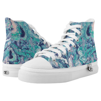 Turquoise & Blue Abstract High Tops