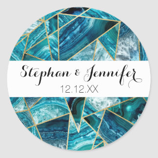 Turquoise Blue Agate Black Gold Geometric Triangle Classic Round Sticker