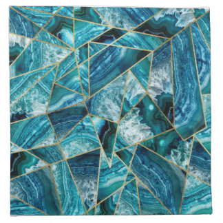 Turquoise Blue Agate Black Gold Geometric Triangle Napkin