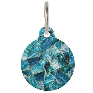 Turquoise Blue Agate Black Gold Geometric Triangle Pet Name Tag