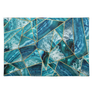 Turquoise Blue Agate Black Gold Geometric Triangle Placemat