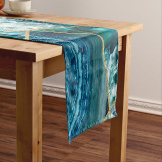 Turquoise Blue Agate Black Gold Geometric Triangle Short Table Runner