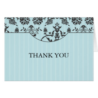 Turquoise Blue and Damask Thank You Note Card