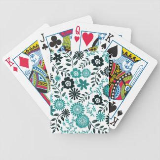 Turquoise blue and dark olive green pattern floral poker deck