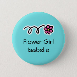 Turquoise blue and pink flower girl buttons