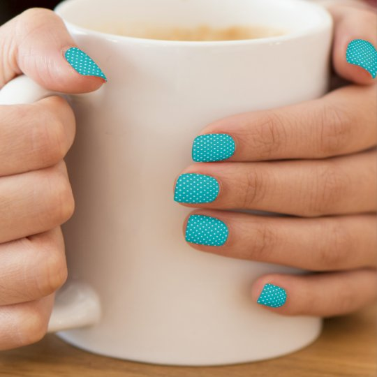 Turquoise Blue and Polka Dots Minx Nail Art