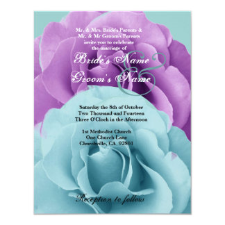 Turquoise  Blue and Purple Rose Wedding Template 2 11 Cm X 14 Cm Invitation Card