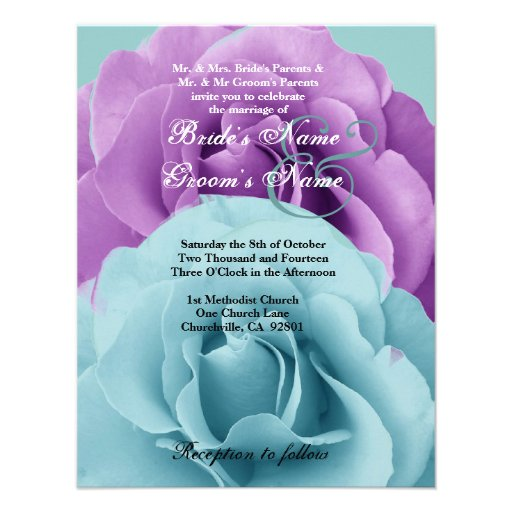 Turquoise  Blue and Purple Rose Wedding Template 2 Custom Invites