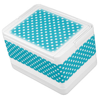 Turquoise Blue and White Polka Dot Pattern Cooler