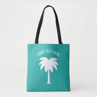 Turquoise blue and white tropical palm tree custom tote bag