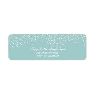 Turquoise Blue and White Wedding Confetti Pattern Return Address Label