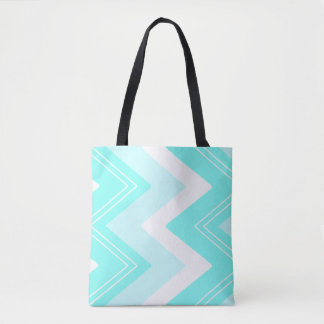 Turquoise blue and white zigzags tote bag