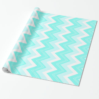 Turquoise blue and white zigzags wrapping paper