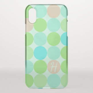 Turquoise Blue, Apple Green & Light Coral Circles iPhone X Case