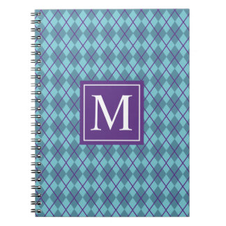 Turquoise Blue Argyle Monogram | Notebook
