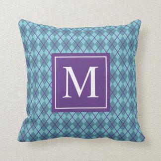 Turquoise Blue Argyle Monogram | Throw Pillow