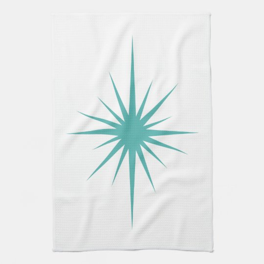 Turquoise Blue Atomic Star Mid Century Hand Towel