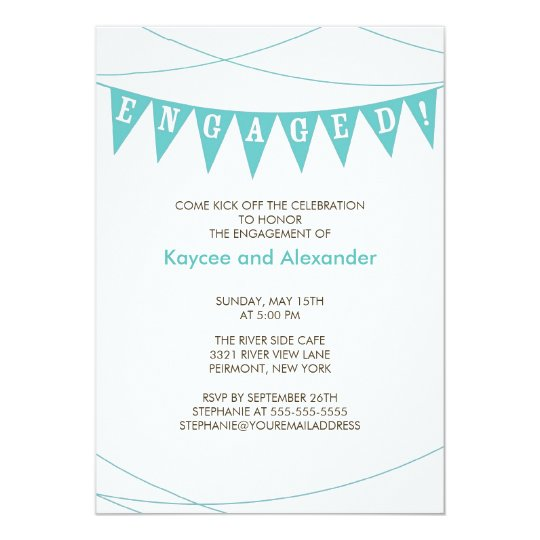 Turquoise Blue Banner Engagement Invitations