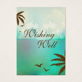 Turquoise Blue Beach Wedding Wishing Well Card