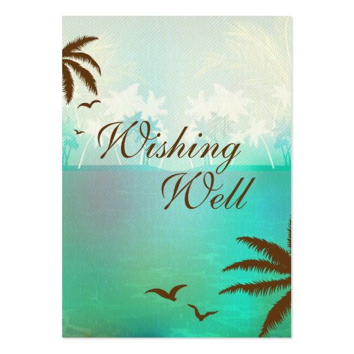 Turquoise Blue Beach Wedding Wishing Well Card Business Cards