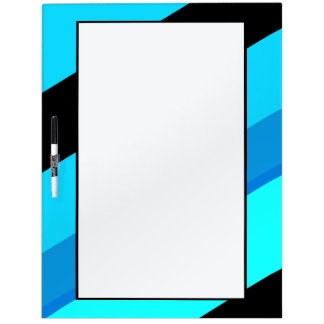 Turquoise Blue Black Stripes Dry Erase Board