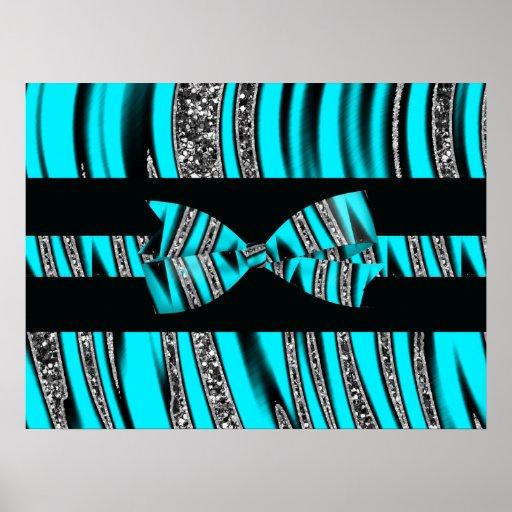 Turquoise Blue & Black Zebra Glitter Stripes Posters