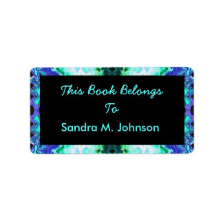 Turquoise Blue Bookplate Label