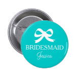 Turquoise blue bridesmaid button for wedding party