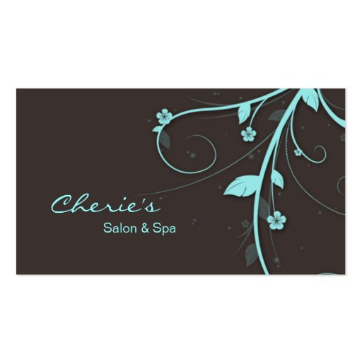 Turquoise blue brown Floral Swirls business card