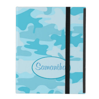 Turquoise Blue Camo Camouflage Name Personalized iPad Case