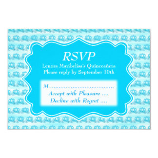 Turquoise Blue Carriages Quinceanera 9 Cm X 13 Cm Invitation Card