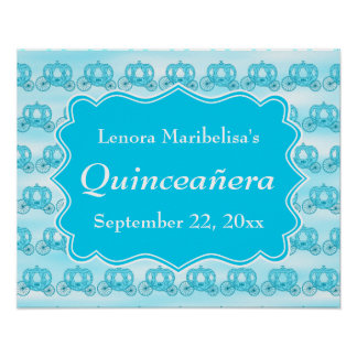 Turquoise Blue Carriages Quinceanera Poster
