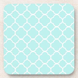 Turquoise Blue Classic Quatrefoil Pattern Coaster