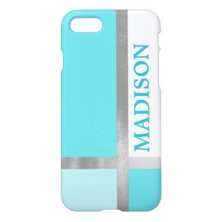 Turquoise Blue Color Block Silver Foil Stripes iPhone 8/7 Case