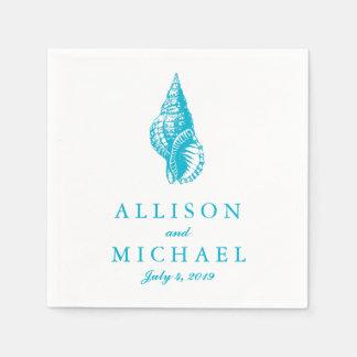 Turquoise Blue Custom Seashell Beach Wedding Paper Napkin